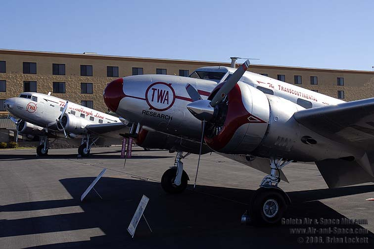 Lockheed Electra 12A, N18137 and Boeing's, TWA DC-2 in new TWA livery together in Santa Maria, California