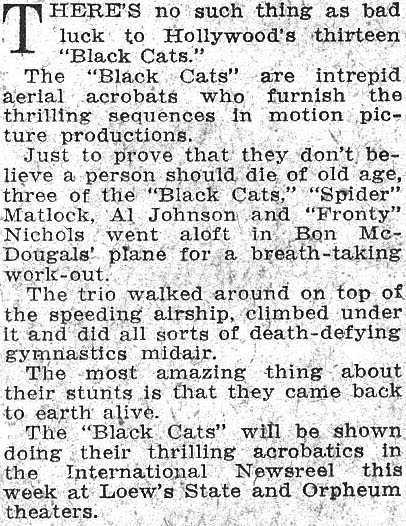Los Angeles Examiner article Black Cats Bring Good Luck