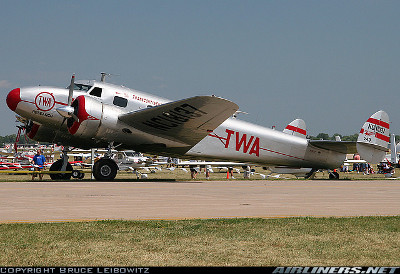This grand photo of the TWA Lockheed 12A, N18137 was taken by Bruce Leibowitz on her arrival at OSH.