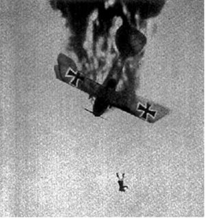 Pilot falling from burning Albatros