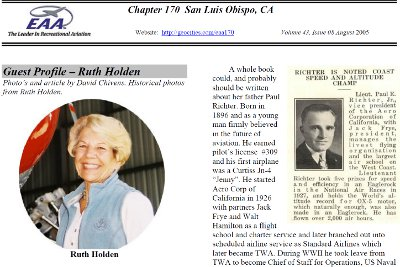 EAA Chapter 170 news letter, Guest Profile Ruth Holden