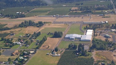 Aerial shot of Ken Jernstedt Airfield, Hood River Oregon.