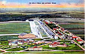 Historic postcard of Kelly Field