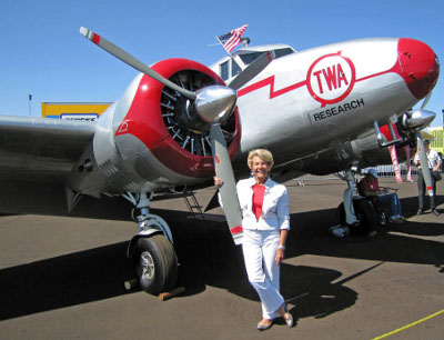 Ruth Richter in front of NC18137 in Reno